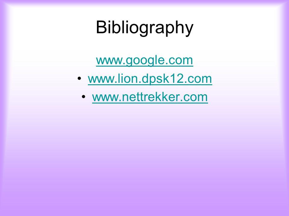 Bibliography www.google.com www.lion.dpsk12.com www.nettrekker.com