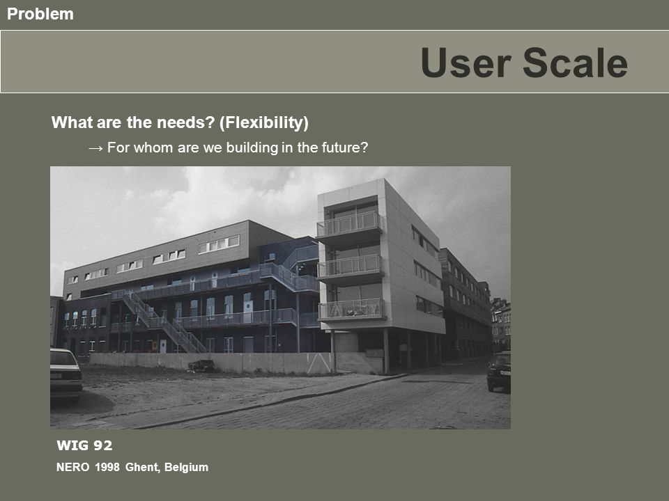 User Scale What are the needs. (Flexibility) Problem → For whom are we building in the future.