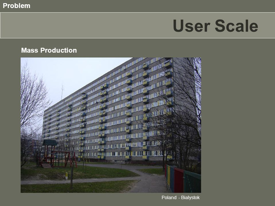 Mass Production There isn't an answer to the individual needing Poland - Bialystok Problem User Scale