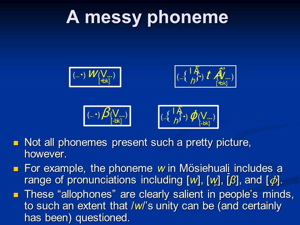 A messy phoneme Not all phonemes present such a pretty picture, however. Not all phonemes present such a pretty picture, however. For example, the pho