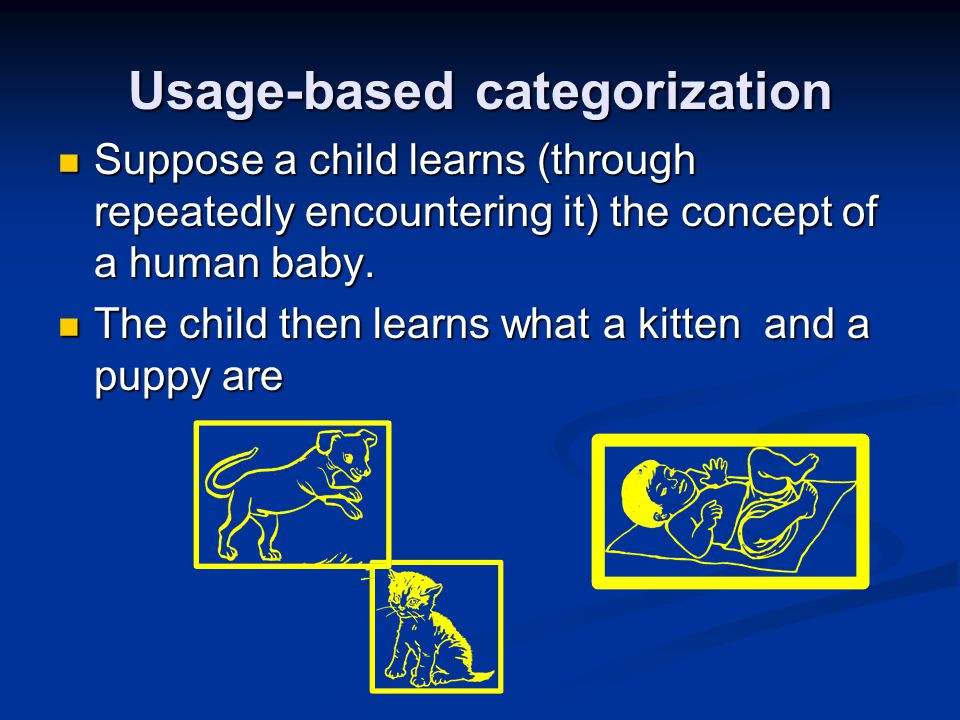 Usage-based categorization Suppose a child learns (through repeatedly encountering it) the concept of a human baby. Suppose a child learns (through re