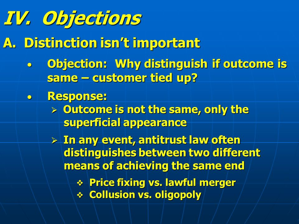 IV. Objections A.