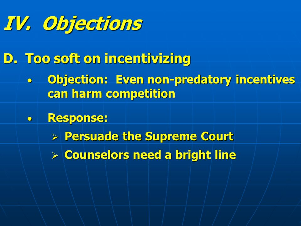 IV. Objections D.