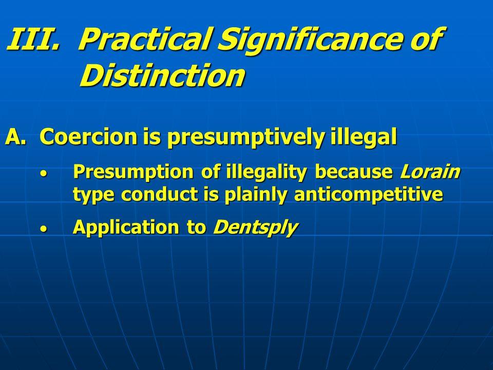 III.Practical Significance of Distinction B.