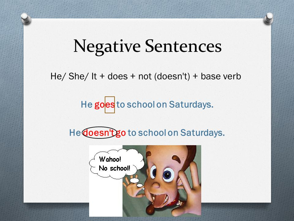 Negative Sentences He/ She/ It + does + not (doesn't) + base verb He goes to school on Saturdays. He doesn't go to school on Saturdays.