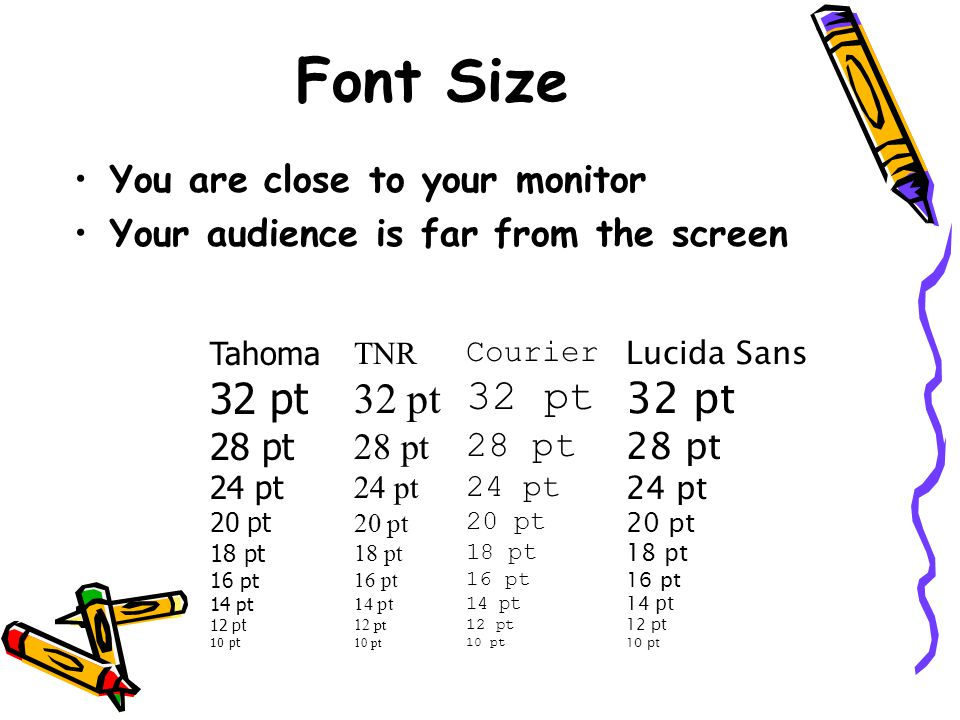 Squint City If you find yourself saying you probably can't read/see this, but… –Then you probably have a BAD SLIDE.