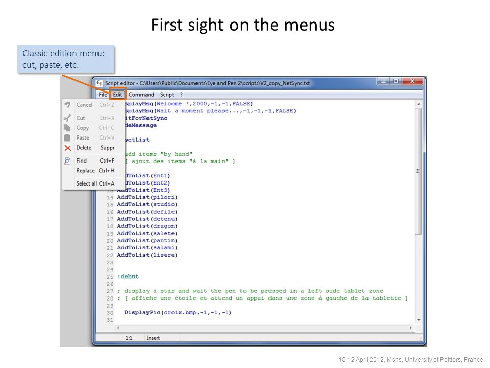 Classic edition menu: cut, paste, etc.