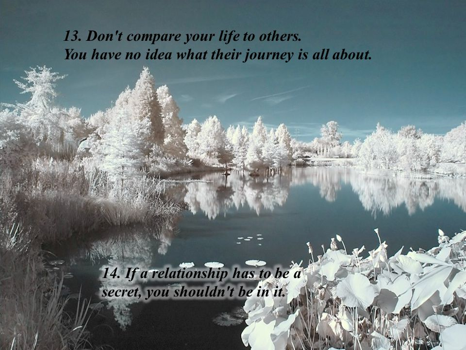 13. Don t compare your life to others. You have no idea what their journey is all about.