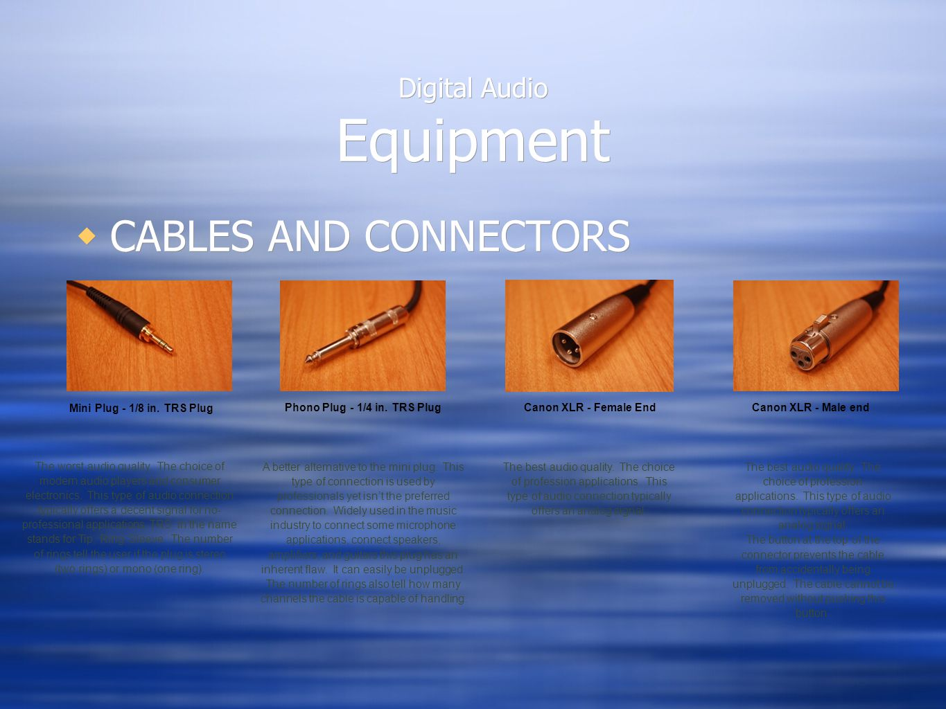 Digital Audio Equipment  CABLES AND CONNECTORS Mini Plug - 1/8 in. TRS Plug The worst audio quality. The choice of modern audio players and consumer