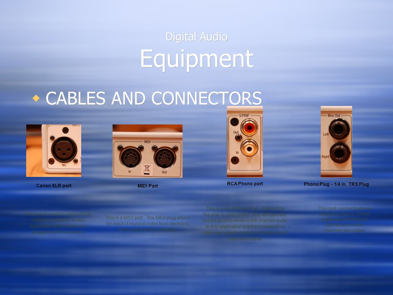 Digital Audio Equipment  CABLES AND CONNECTORS Canon XLR port This port is used to connect XLR cables to a device.