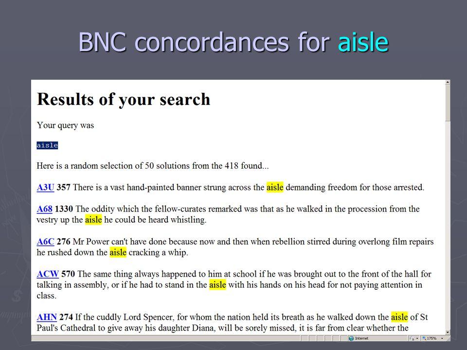 BNC concordances for aisle
