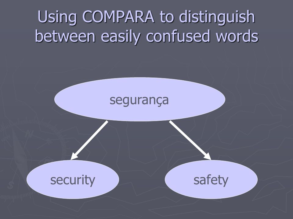 Using COMPARA to distinguish between easily confused words segurança securitysafety