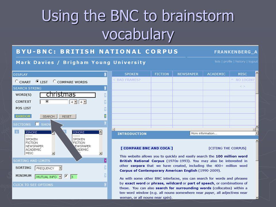 Using the BNC to brainstorm vocabulary christmas *