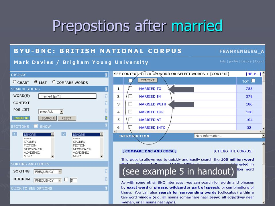 Prepostions after married (see example 5 in handout)