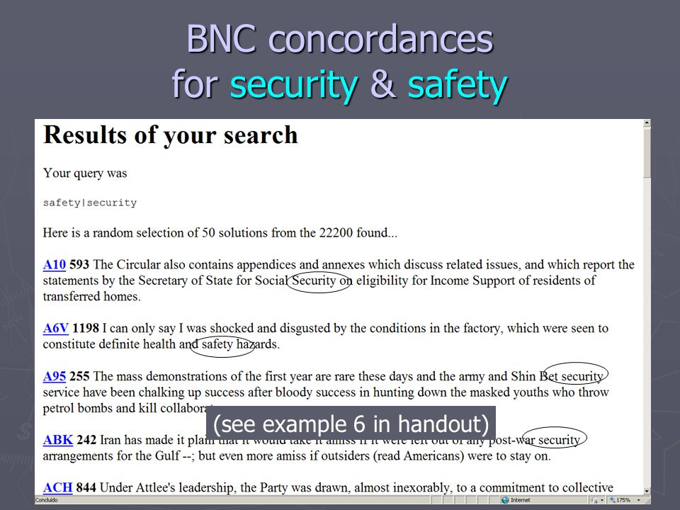 BNC concordances for security & safety (see example 6 in handout)