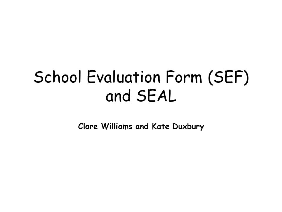 School Evaluation Form (SEF) and SEAL Clare Williams and Kate Duxbury