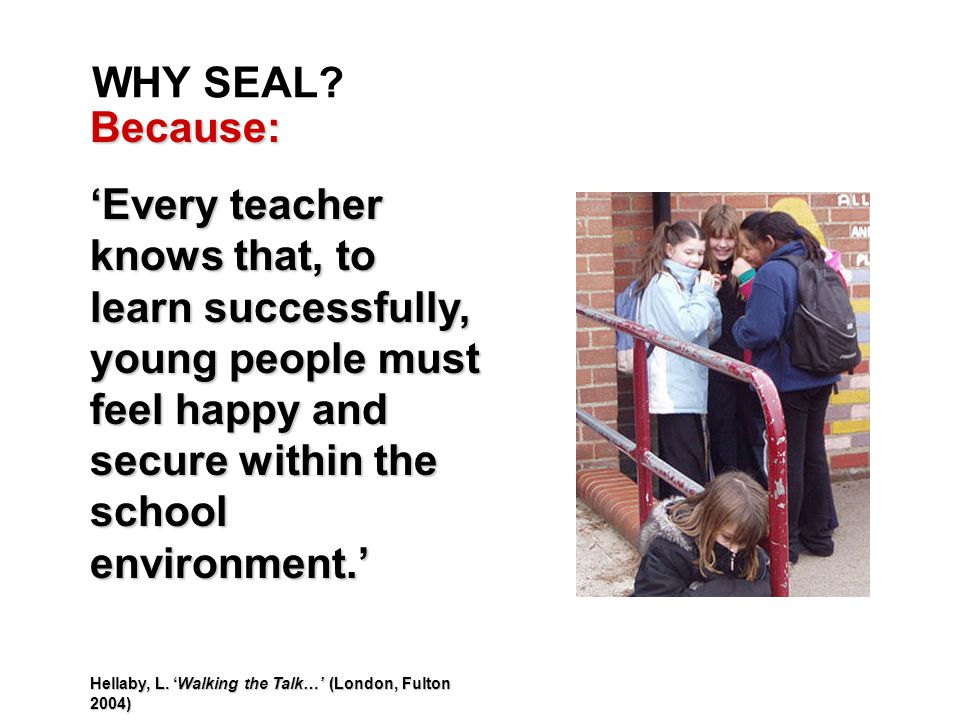 WHY SEAL? Because: 'Every teacher knows that, to learn successfully, young people must feel happy and secure within the school environment.' Hellaby,