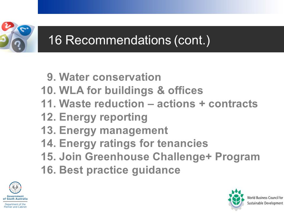 16 Recommendations 1.Internal policies 2. Whole of lifecycle 3.