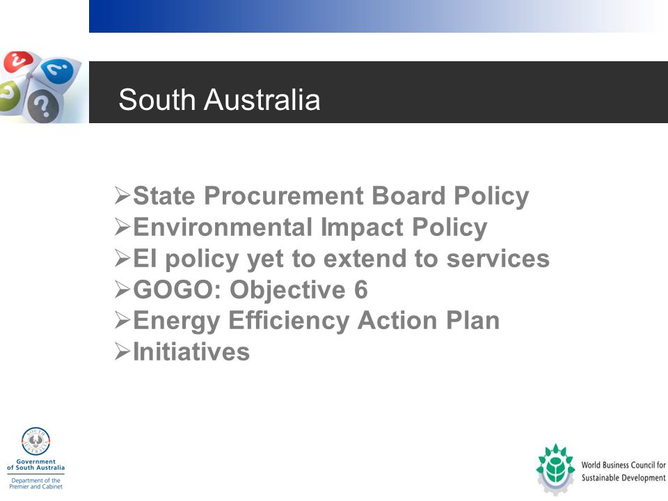 The State of Green Procurement in Australia(2004)  Market mechanisms  Local, State, C'wth Government analysis  International arrangements  Business, NGO and Industry actions  Trends, conclusions & recommendations