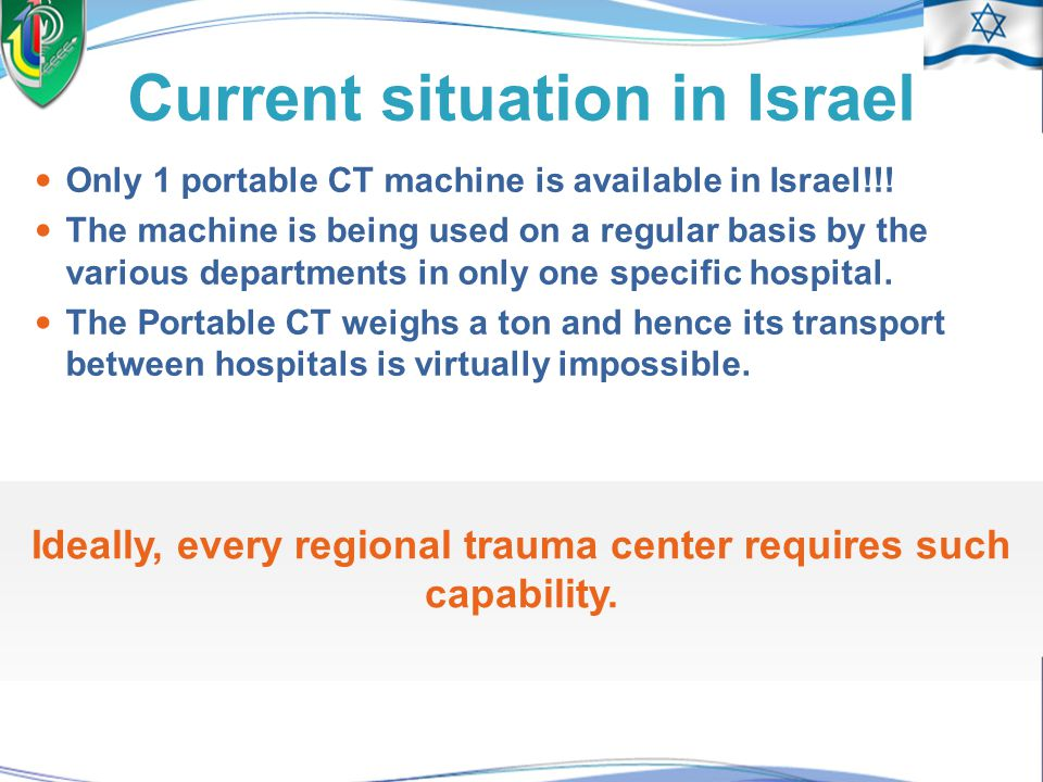 Why a portable CT? It isn't possible to move children and severely injured patients to the CT room. In such conditions, patients with head injuries ca