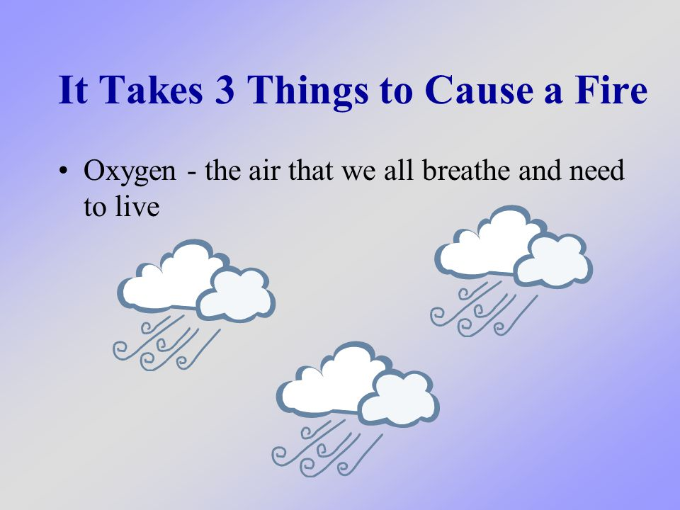 It Takes 3 Things to Cause a Fire Oxygen - the air that we all breathe and need to live