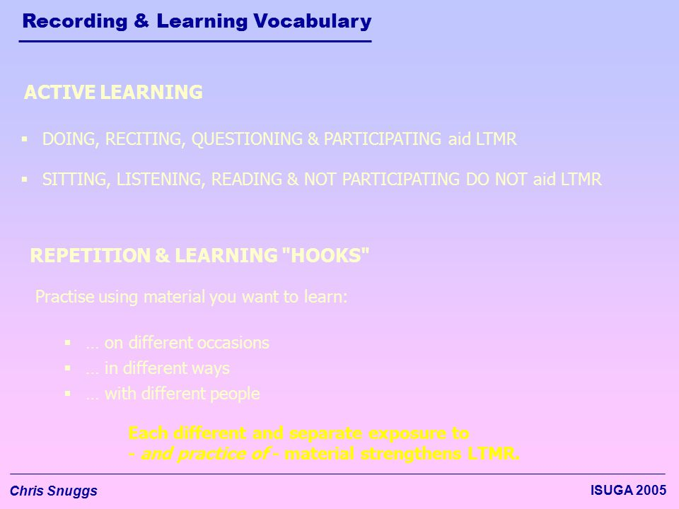 Recording & Learning Vocabulary Chris Snuggs ISUGA 2005  DOING, RECITING, QUESTIONING & PARTICIPATING aid LTMR  SITTING, LISTENING, READING & NOT PA