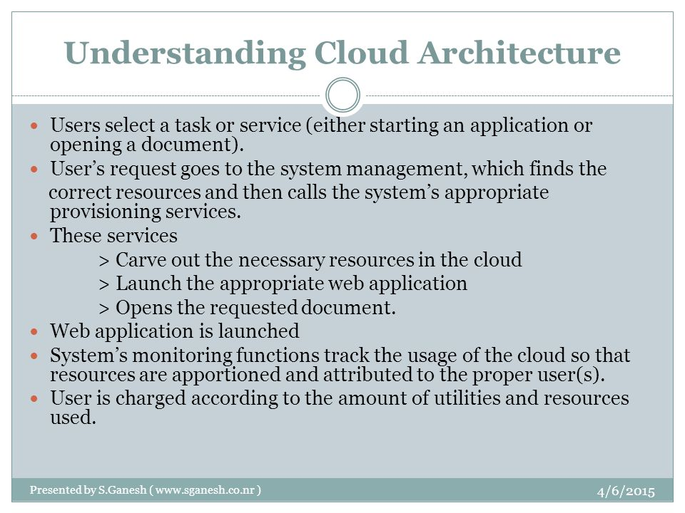 Understanding Cloud Architecture Users select a task or service (either starting an application or opening a document).