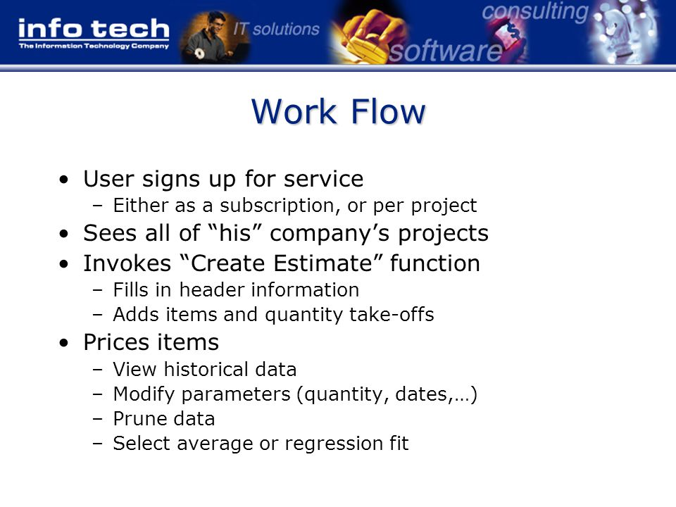 Work Flow User signs up for service –Either as a subscription, or per project Sees all of his company's projects Invokes Create Estimate function –Fills in header information –Adds items and quantity take-offs Prices items –View historical data –Modify parameters (quantity, dates,…) –Prune data –Select average or regression fit