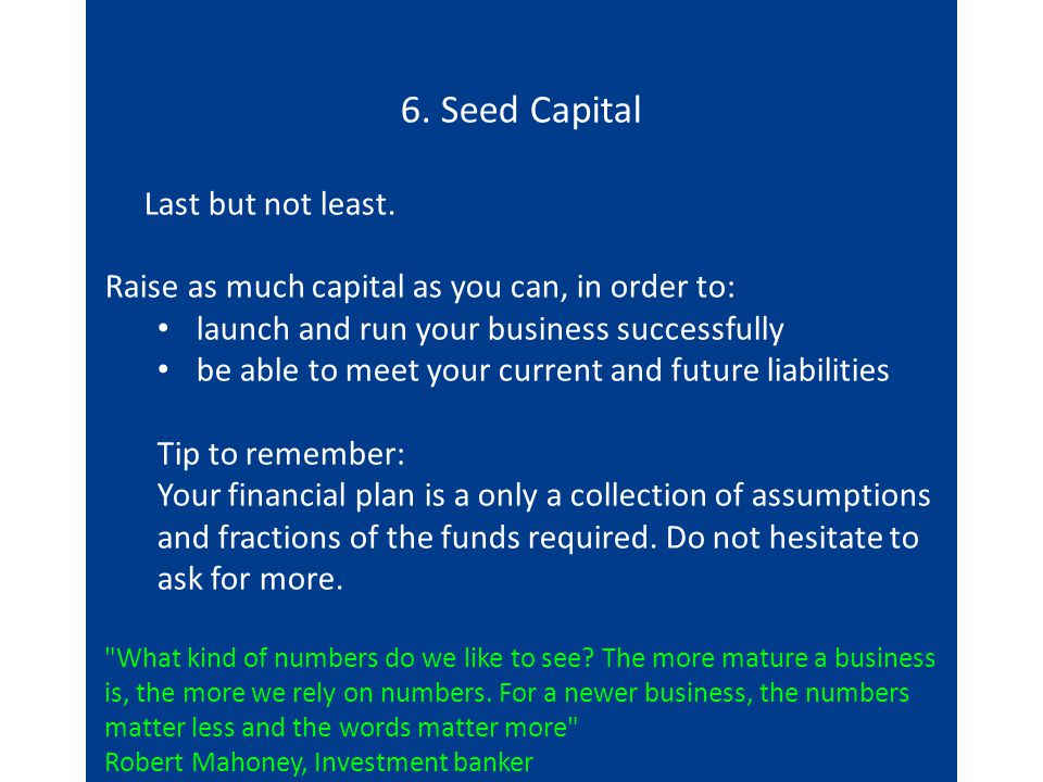 6. Seed Capital Last but not least.