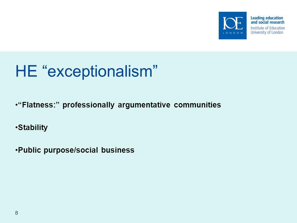 "8 HE ""exceptionalism"" ""Flatness:"" professionally argumentative communities Stability Public purpose/social business"