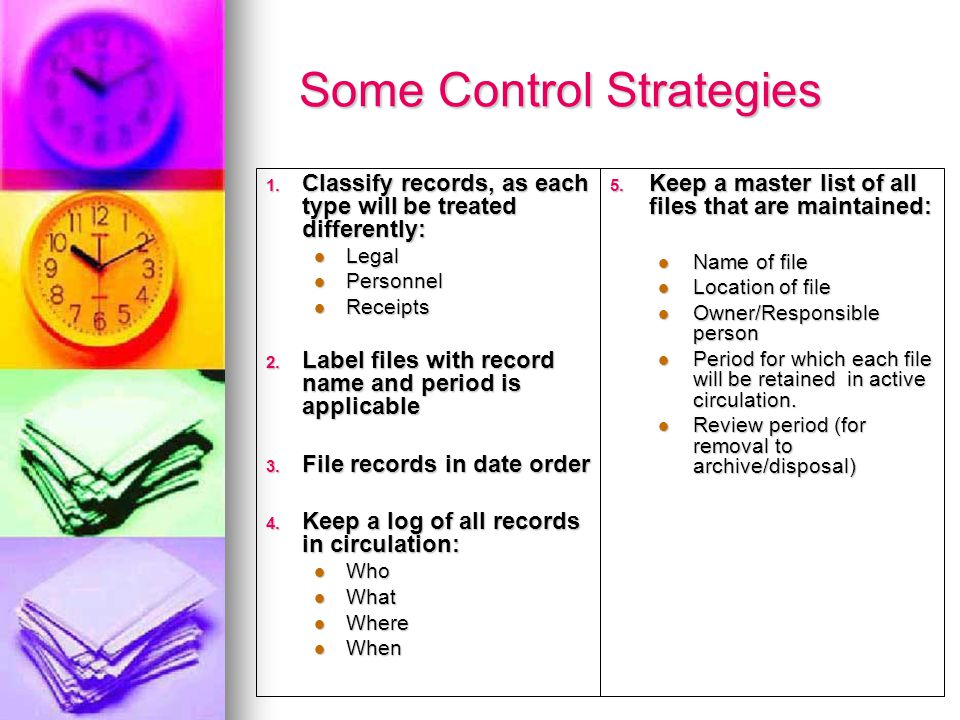 Some Control Strategies 1.