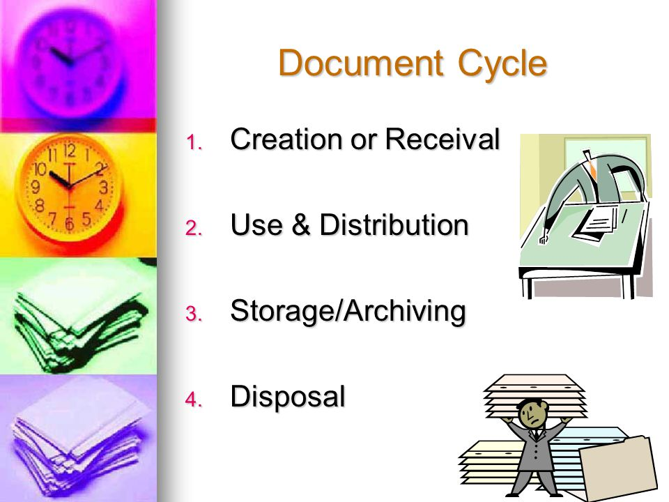 Document Cycle 1. Creation or Receival 2. Use & Distribution 3. Storage/Archiving 4. Disposal