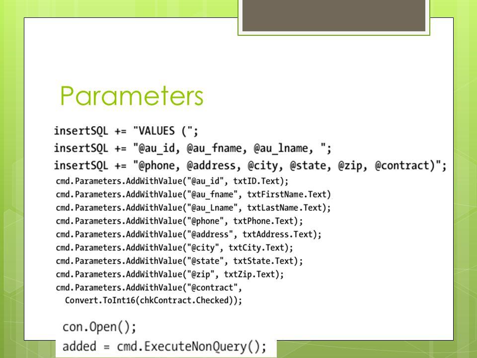 Parameters  @ParamName