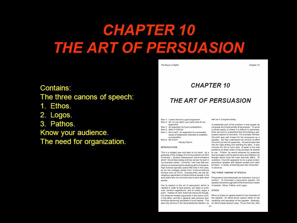 CHAPTER 10 THE ART OF PERSUASION Contains: The three canons of speech: 1.