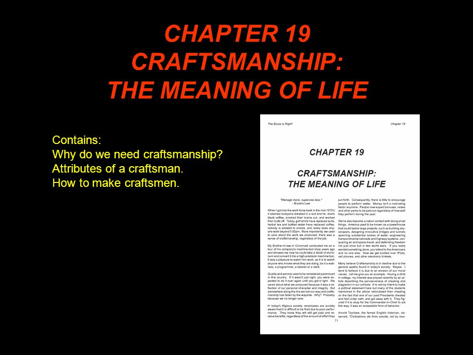 CHAPTER 19 CRAFTSMANSHIP: THE MEANING OF LIFE Contains: Why do we need craftsmanship.