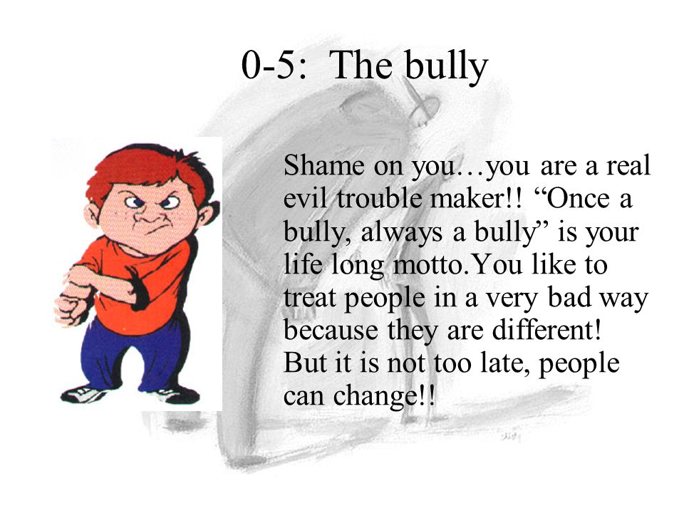 "Shame on you…you are a real evil trouble maker!! ""Once a bully, always a bully"" is your life long motto.You like to treat people in a very bad way bec"