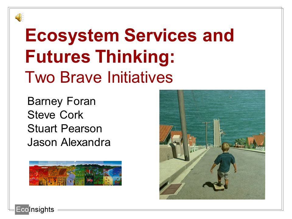 Ecosystem Services and Futures Thinking: Two Brave Initiatives Barney Foran Steve Cork Stuart Pearson Jason Alexandra