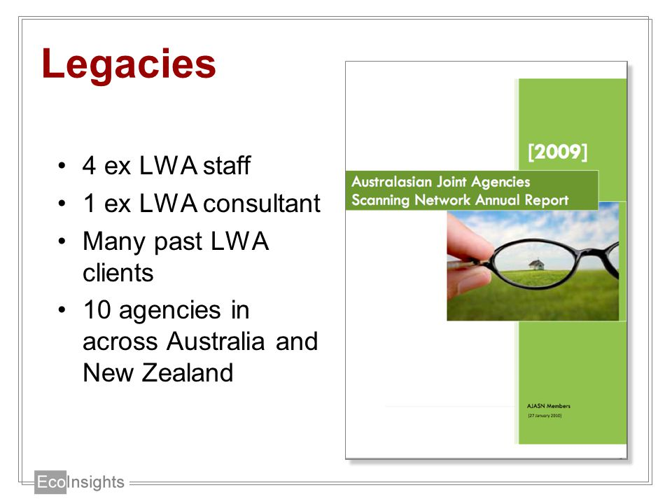 Legacies 4 ex LWA staff 1 ex LWA consultant Many past LWA clients 10 agencies in across Australia and New Zealand
