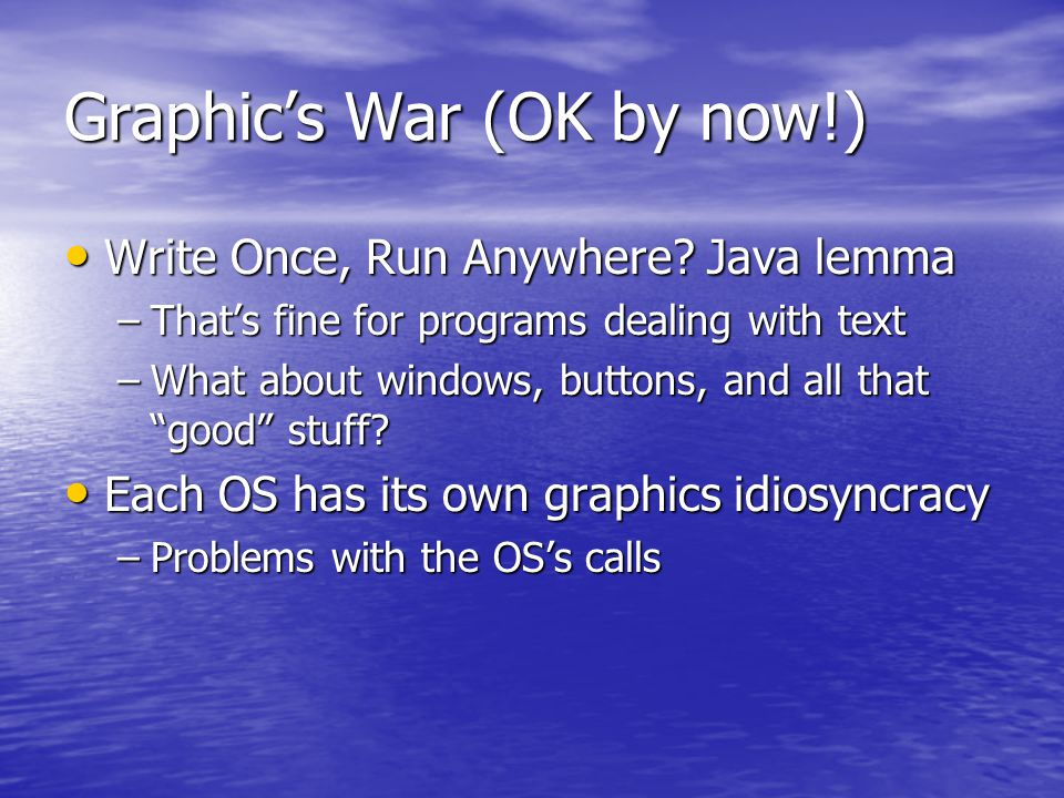 Graphic's War (OK by now!) Write Once, Run Anywhere.