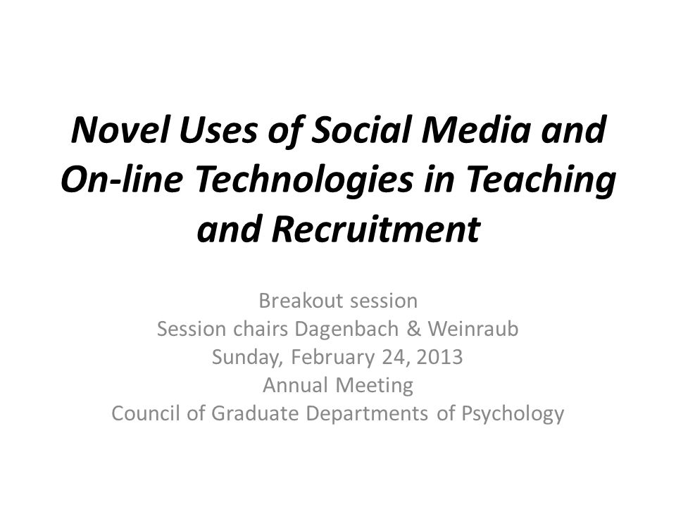 Current Use of Social Media in Teaching Faculty responses Do Use 34 % Don't Use 66 % Age effects Do Use Under 35 40% Over 55 30%