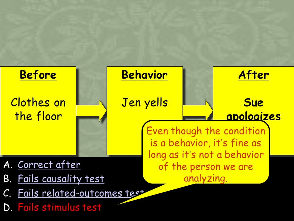 158 A.Correct afterCorrect after B.Fails causality testFails causality test C.Fails related-outcomes testFails related-outcomes test D.Fails stimulus