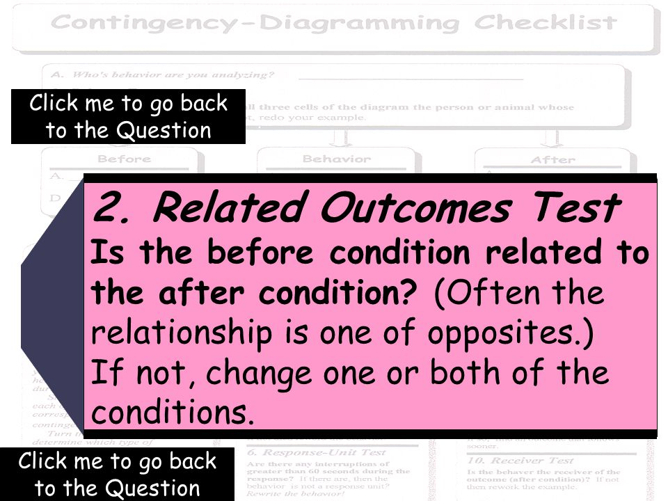 40 2. Related Outcomes Test Is the before condition related to the after condition.