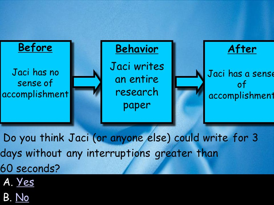47 Do you think Jaci (or anyone else) could write for 3 days without any interruptions greater than 60 seconds.