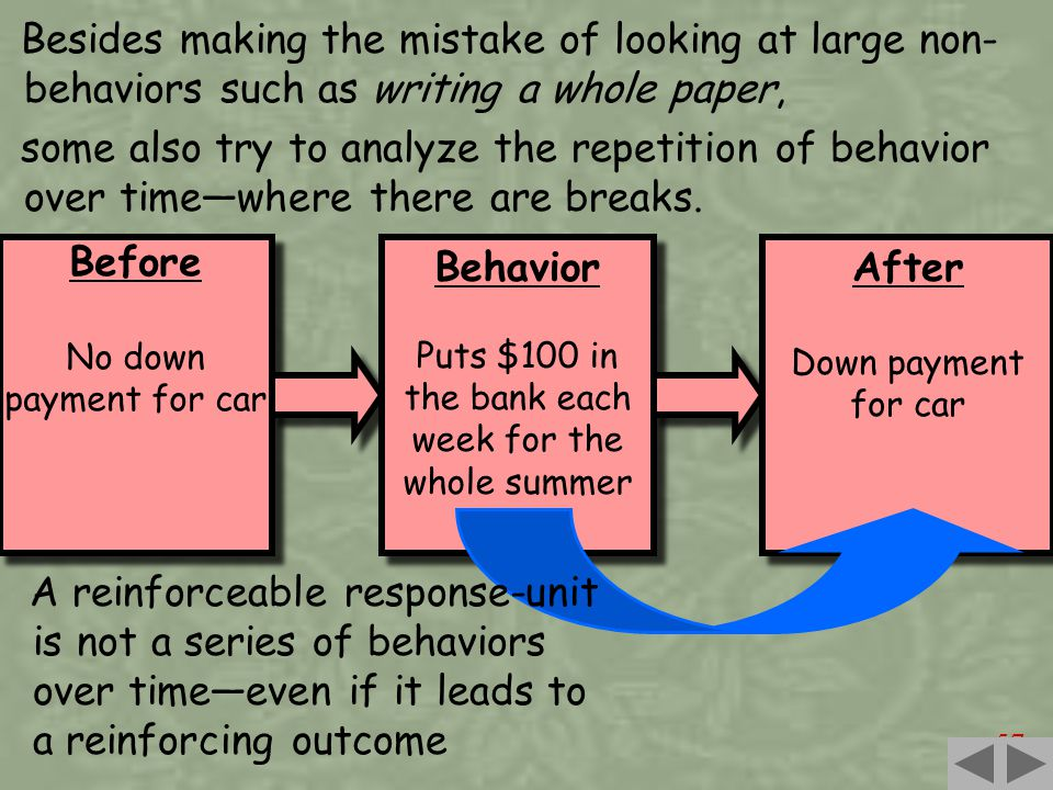 57 Besides making the mistake of looking at large non- behaviors such as writing a whole paper, some also try to analyze the repetition of behavior over time—where there are breaks.