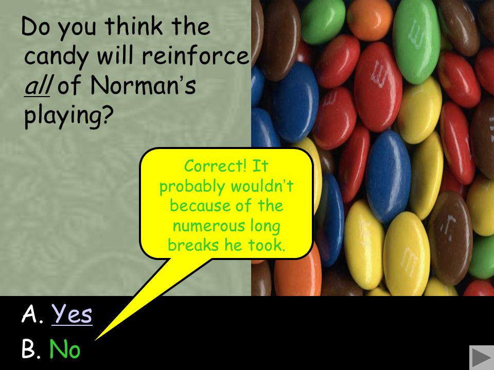69 Do you think the candy will reinforce all of Norman ' s playing? A. YesYes B. No Correct! It probably wouldn ' t because of the numerous long break