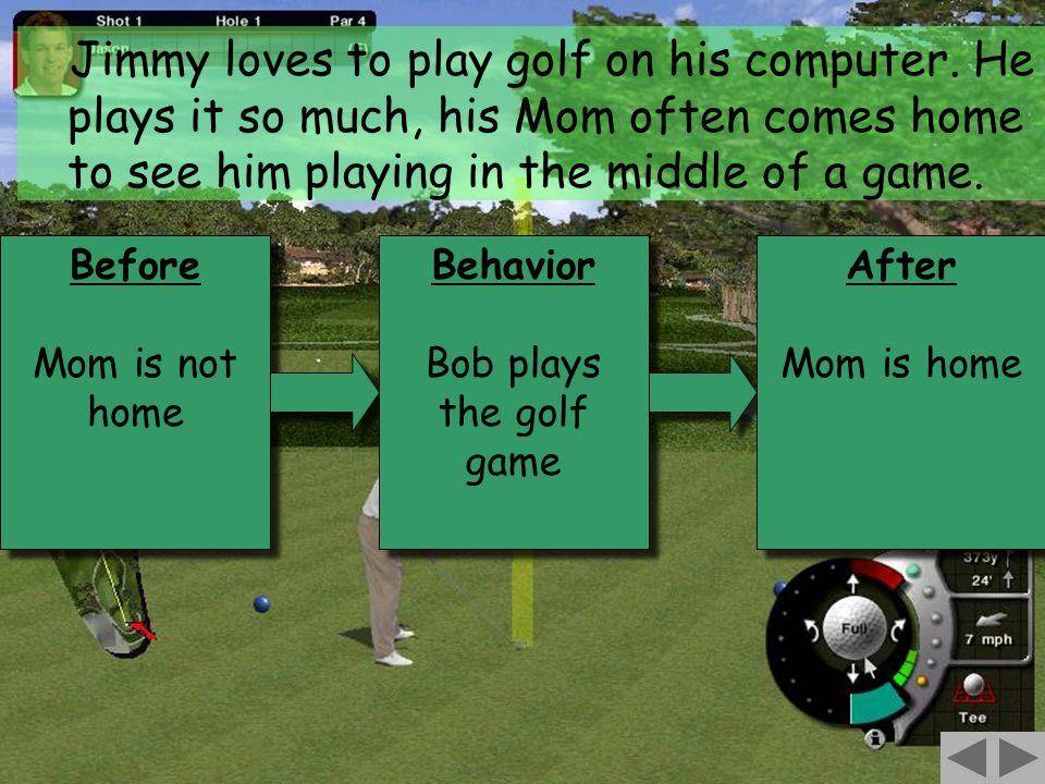 97 Before Mom is not home Before Mom is not home Behavior Bob plays the golf game Behavior Bob plays the golf game After Mom is home After Mom is home Jimmy loves to play golf on his computer.