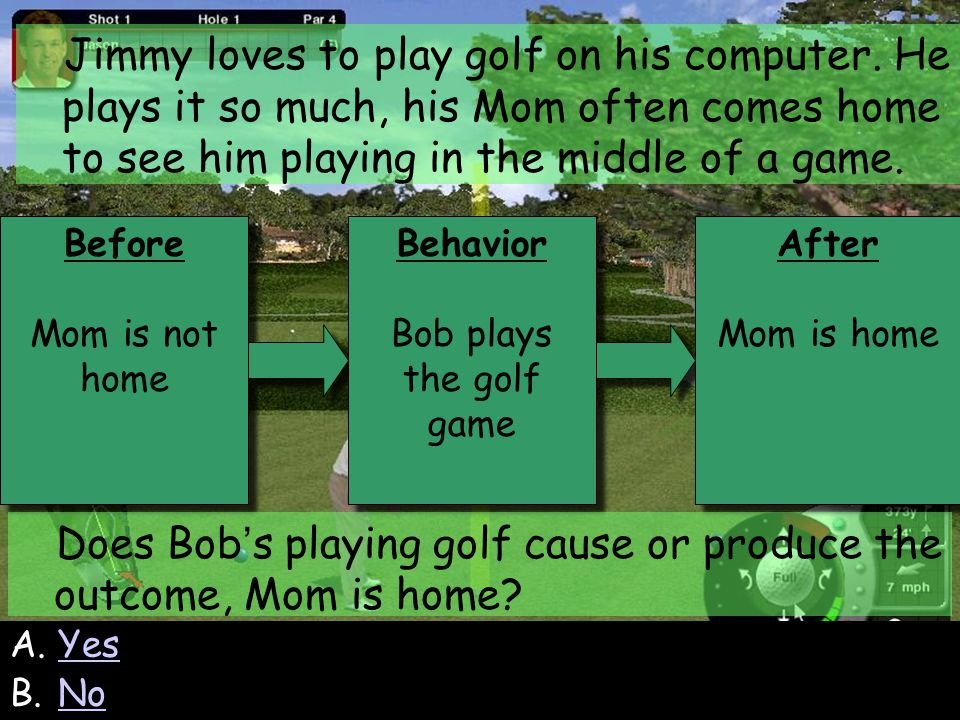 98 Before Mom is not home Before Mom is not home Behavior Bob plays the golf game Behavior Bob plays the golf game After Mom is home After Mom is home Jimmy loves to play golf on his computer.