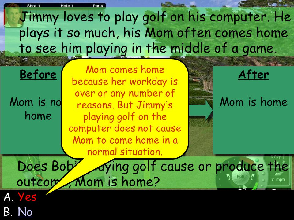 99 Before Mom is not home Before Mom is not home Behavior Bob plays the golf game Behavior Bob plays the golf game After Mom is home After Mom is home Jimmy loves to play golf on his computer.