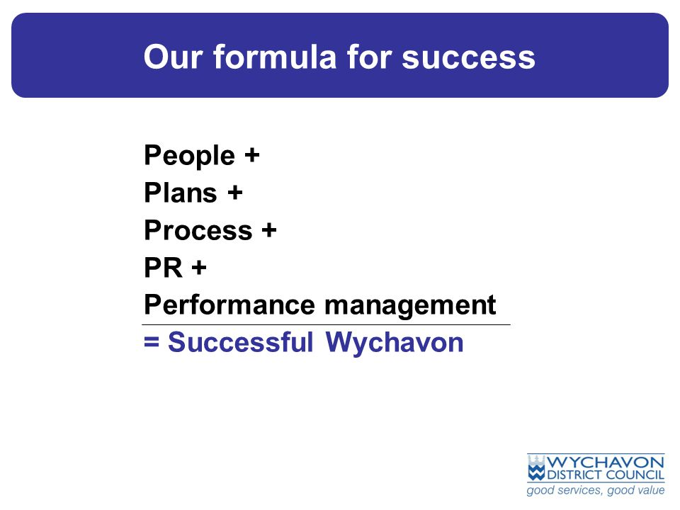 People + Plans + Process + PR + Performance management = Successful Wychavon Our formula for success