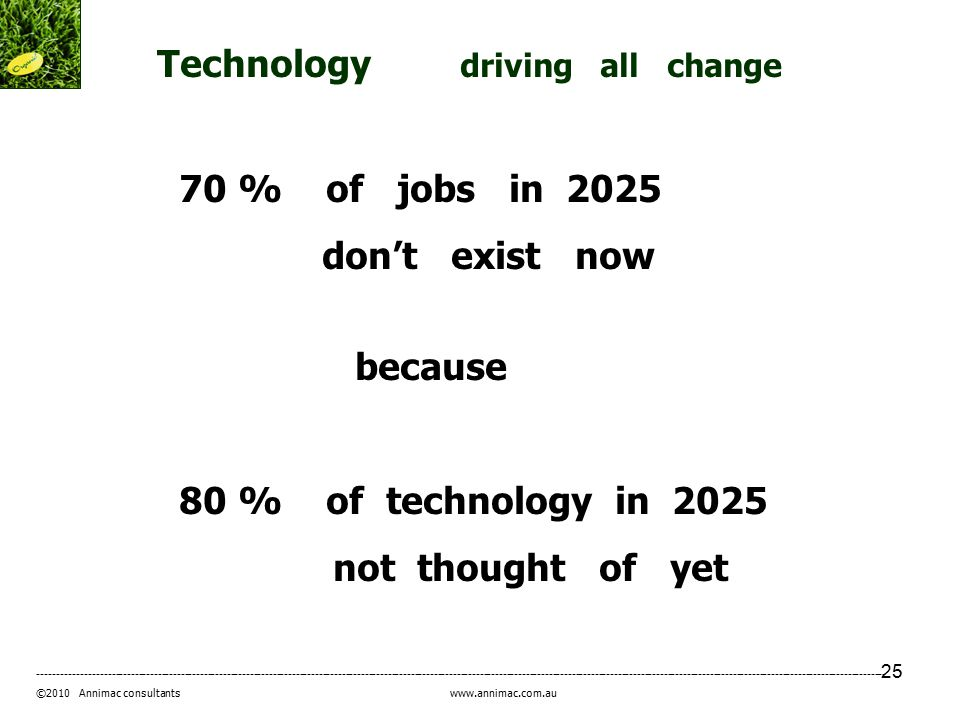 25 ----------------------------------------------------------------------------------------------------------------------------------------------------------------------------------------------------------------------------- ©2010 Annimac consultants www.annimac.com.au Technology driving all change 70 % of jobs in 2025 don't exist now because 80 % of technology in 2025 not thought of yet